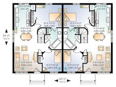 Discover the plan 2084 - Daunais from the Drummond House Plans multi family collection. Duplex house plan with 2 bedrooms per unit, and open floor plan concept. House Layout Plans, Family House Plans, Best House Plans, House Layouts, Home And Family, Duplex Floor Plans, House Floor Plans, Plan Ville, Plan Chalet