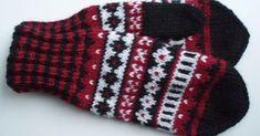 Punamustavalkoiset kirjoneulelapaset on tehty 7 Veljestä -langasta, koko on naisten. Puikot nro 3,5 ja 4 tai käsialan mukaan.  Tarvikke... Knit Mittens, Knitting Socks, Mitten Gloves, Knit Socks, Drops Design, Baby Booties, Fingerless Gloves, Knitting Patterns, Knit Crochet