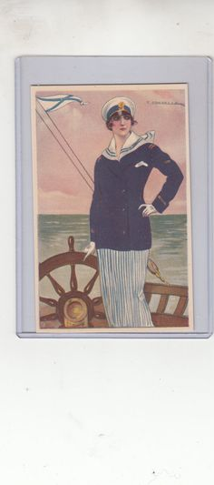 Stylish Woman Sailor A/S Tito Corbella Antq Postcard On Deck Steering Yacht,Unused