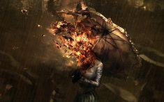 Artistic Abstract Face Fire Flame Umbrella Rain Wallpaper