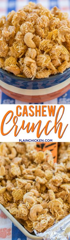 Cashew Crunch recipe - CRAZY good snack mix! Cashews, Coconut and Crispix tossed in a sweet brown sugar syrup. Makes a ton. Great for easy homemade holiday gifts. ~ Plain Chicken