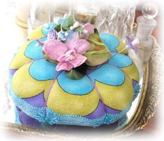 PINCUSHION Handmade Soft Sculpture TEAL Purple by CharlotteStyle, $19.00