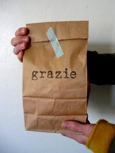 Grazie / Stamped Brown Paper Gift Bags, Set of 10. $7.50, via Etsy.