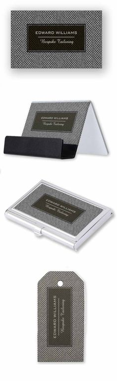 Business cards, product label, business cards holders and more. Bespoke fashion designer tailoring collection on woven type of texture background.  elegant collection of customized business cards, letterheads , labels and other business promotional business supplies.