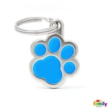 Show details for Light Blue Paw Pet Tag Free engraving www.myfamily.it  Fun, trendy, bizarre, eye-catching. For happy, lively dogs. Charms tags are made from hand-enamelled, precision-cast metal and non-allergenic material.  Made in Italy  This product can be customized with 3 lines on the back.  Tell us how to customize your product (eg. Name line 1, line 2 telephone number)