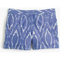 J.Crew Cotton Short ($70) ❤ liked on Polyvore featuring shorts, summer shorts, cotton shorts, j. crew shorts, ikat shorts and woven shorts