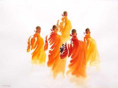 Monks on the morning Round (2) by Min Wae Aung