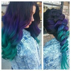 Brown > Purple > Teal Ombre Hair