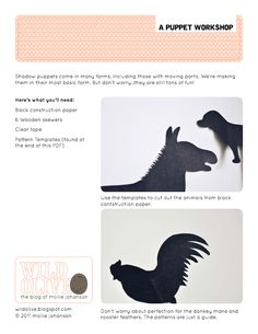 Silhouette Puppets Shadow Puppets Free Printable PDF from wildolive