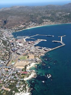 Aerial view of Simonstown, including the navy, harbour and yacht quays. (I was very lucky to be invited on a helicopter ride over the Cape Peninsula, all the way to Cape Point and then inland to the Cape Winelands. Cape Town South Africa, African Countries, We Are The World, Africa Travel, Aerial View, Places To See, Beautiful Places, Scenery, Around The Worlds