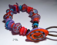 INCA TREK Handmade Lampwork Bead BRACELET Red by desertbugdesigns, $ 62.00