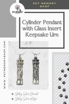 Our antiqued (blackened) filigree cylinder has a discreet see-through design with a fillable glass insert with a stopper. A threaded cap secures the glass inside the pendant. Engraving is limited to three characters. Engraving is not included. Pet Memorial Jewelry, Keepsake Urns, Pet Loss, Pet Memorials, Pet Gifts, Black Velvet, Place Card Holders, Memories, Pets