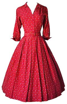 1950s - red shirtwaist dress, three-quarter sleeves with cuffs edited by franceseattle