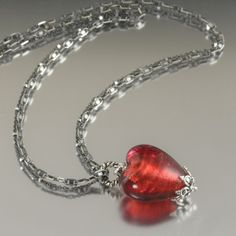 Deep Poppy Red Venetian Heart on Black sterling silver chain