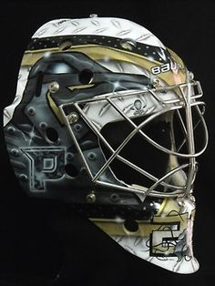 """Marc-Andre Fleury asked for something """"totally different"""" on his new mask this season, a departure from the variations of the """"Angry Flower"""" motifs he had sported variations of for several years. Hockey Helmet, Hockey Goalie, Hockey Teams, Pittsburgh Sports, Pittsburgh Penguins Hockey, Pens Hockey, Hockey Stuff, Lets Go Pens, Nhl"""