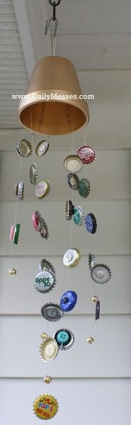 Daily Messes: Wind Chimes  This would look prettier with painted, flattened bottle caps and flower or bird pictures modge podged into them.