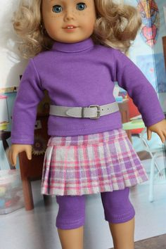 American girl doll clothes, 18 inch doll clothes, Pleated plaid skirt with…