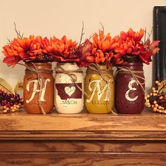 Orange, antique white, yellow, red Montana Home Mason jar set