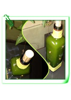 Portaincienso de botella de vidrio cuadrada!!