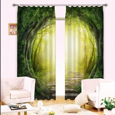 Hot Selling Illusional Woodland Path Print Blackout 3D Curtain on sale, Buy Retail Price 3D Scenery Curtains at Beddinginn.com