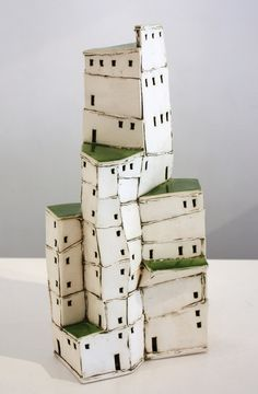 New Zealand ceramicist Carol Robinson Clay Houses, Ceramic Houses, Miniature Houses, Pottery Sculpture, Sculpture Art, Cardboard City, Wal Art, Pottery Houses, Architectural Sculpture