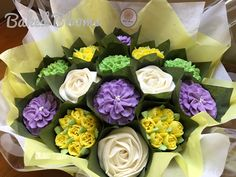 Medium purple, yellow and green Thank You bouquet www.bakedblooms.com
