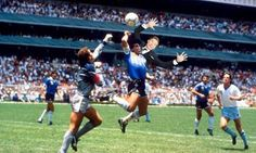 Diego Maradona's Hand of God, one of the most controversial goals, was scored as the result of an illegal (but unpenalised) handball by Diego Maradona in the quarter-final match of the 1986 FIFA World Cup between England and Argentina. Nike Football, Football Players, Mexico 86, Mexico City, Diego Armando, International Football, Soccer Stars, Soccer World, Seven Deadly Sins
