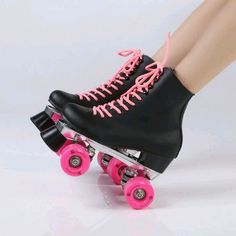 Double Roller Skates Black Genuine Leather With Pink PU Wheels Two Side Roller Skate Patines Lady Skates Adult Skate Shoes Roller Derby, Roller Skating, Rollers, E Quad, Roller Skate Shoes, Black Roller Skates, Guy Pictures, Cute Shoes, Rubber Rain Boots