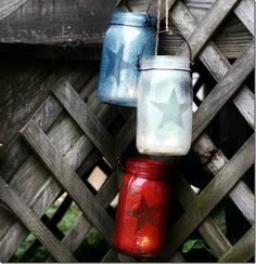 red white blue mason jar lanterns for 4th of July