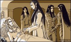 http://mellorianj.tumblr.com/image/59111286901 Celebrian's Pain by Mellorianj -  Celebrian has decided to leave Middle Earth. Elladan tries to comfort Elrohir, who feels guilty for not reaching their mother sooner; Elrond and Celebrian look as though they are talking telepathically, and Arwen is just trying to hold back her tears.