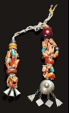 Morocco | Berber temple ornaments ~ tidjgagalin ~ from the Draa valley | Amber, coral, silver, amazonite, shell, other stone and glass beads on natural fiber cord | ca. early 1900s