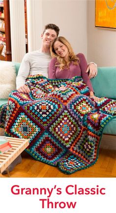 Granny's Classic Throw Free Crochet Pattern in Red Heart Yarns (UK terms), looks like 9 rounds. RED HEART® Soft®: 2 balls each 00002 Nature A, 00012 Grey B, 00 Crochet Afgans, Crochet Quilt, Crochet Squares, Crochet Blanket Patterns, Crochet Granny, Crochet Yarn, Crochet Stitches, Free Crochet, Knitting Patterns
