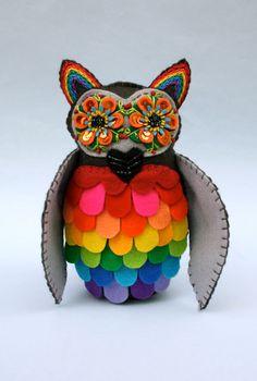 Rainbow Owl - Mexican Folk Art -  Embroidered Plush - Soft Sculpture