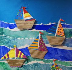 Paper Boats On Painted Torn Background Artist Junior Infants Age Group 3 Fun Kids ActivitiesPreschool