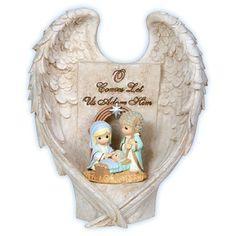 Precious Moments Nativity Product Description LED Angel Wings Nativity Resin. 7″ H. Come and adore the newborn King as the Holy Family is embraced by angel wings. You've never seen the Christmas story shared quite like this. The Nativity scene is illuminated with three button cell batteries, included.