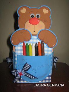 Porta lápis de ursinho com molde