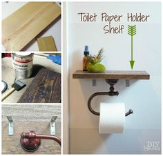 DIY Toilet Paper Holder Shelf - definitely a good place to put your poop-erie oil on top of! :)