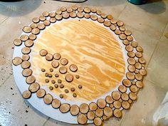 diy wood slices mirror