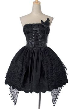 Punk Rave Q-163 Dress romantic jacquard black rose   CLOTHING \ Dresses   Restyle.pl