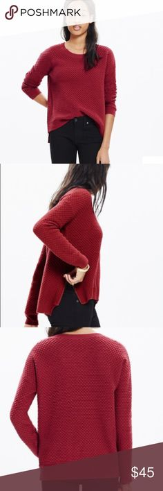 """Madewell Landmark Texture Sweater - S Madewell Landmark Texture Sweater! Size Small Red Hi-Lo Side zippers Measures 21"""" across and 25"""" in length in the front and 29"""" in length in the back. Gently worn, minor wear from wash.  Still in great used condition! From a smoke free home! Oversized With a high-low hem and a fresh side-zip detail, this softly textured sweater is made of our favorite supersoft yarn. (Tip: Unzip to show a peek of layers underneath.)   True to size. Cotton/viscose/nylon…"""