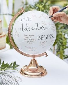 · Out of stock · Keep messages from those who mean the world to you on this stunning globe guest book alternative. This rose gold globe wedding guest book alternative is approx. tall Wide Each globe will… Cute Wedding Ideas, Wedding Goals, Wedding Themes, Wedding Planning, Different Wedding Ideas, Wedding Ideas Guests, Wedding Table Decorations, Wedding Presents For Guests, Wedding Cakes
