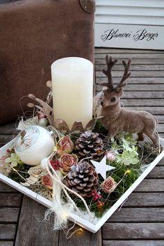 ":::: Adventstablett "" Hirschlein "" beleuchtet :::: - New Ideas Centerpiece Christmas, Christmas Table Settings, Christmas Candles, Xmas Decorations, Noel Christmas, Christmas Themes, Christmas Wreaths, Christmas Crafts, Christmas Ornaments"