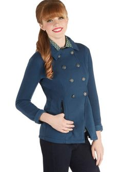 Nantucket List Jacket - Knit, 2, Blue, Solid, Buttons, Pockets, Long Sleeve, Good, Double Breasted, Fall, Blue, Mid-length, Winter