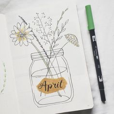 Bullet journal monthly cover page, May cover page, wildflowers in a Mason jar drawing. | @bujo.by.marieke