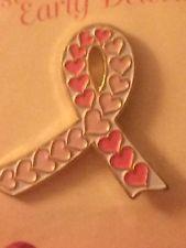 Pink Ribbon of Hearts Breast Cancer Awareness Lapel Pin Hat Pin