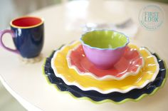 SUMMER 2013 - Color stacks up at Coton Colors is adding Color Block to its existing Swap Tabletop Collection. The new colors are Navy, Citron, Daffodil, Lilac, Cobble & White. Las Vegas World, Coton Colors, Bridal Registry, World Market, Kitchenette, Dinnerware, Dishes, Tableware, Easy