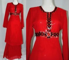 Red Modern Baju Kurung