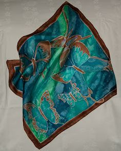 45 x 45 cm silk scarf hand painted.