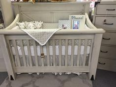 Grey tile pattern crib bedding set on display in the Providence crib at The Baby's Room in Metairie, LA Geometric Tiles, Grey Tiles, Crib Bedding Sets, Quatrefoil, Baby Boy Nurseries, Tile Patterns, Baby Love, Rustic Decor, Cribs