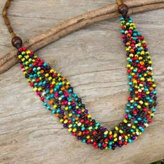 Wood beaded necklace, 'Rainbow Muse' at The Hunger Site Diy Jewelry Necklace, Necklace Designs, Beaded Jewelry, Beaded Bracelets, Craft Jewelry, Necklace Ideas, Handmade Jewelry, Jewelry Making, Jewelry Ideas